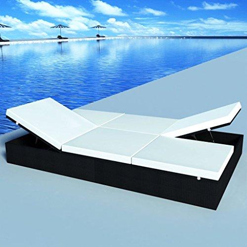 lingjiushopping Transat polyrotin Double avec coussins 194 x 120 cm Noir Couleur du coussin : Blanc crème bains de soleil