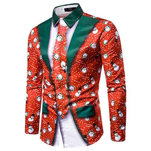 Zylione Herren Hemd Weihnachten T-Shirt Hawaiihemd Freizeithemd Bluse 3D Druck Casual Sweater Festlich Shirt Pullover Langarm Hemden Langarmshirt