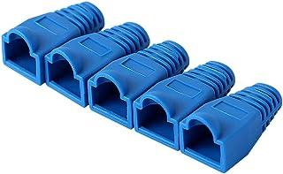 AMPCOM RJ45 Modular Plug Cap, Low-Smoke Zero Halogen Strain Relief Boot- 100 Pack Blue