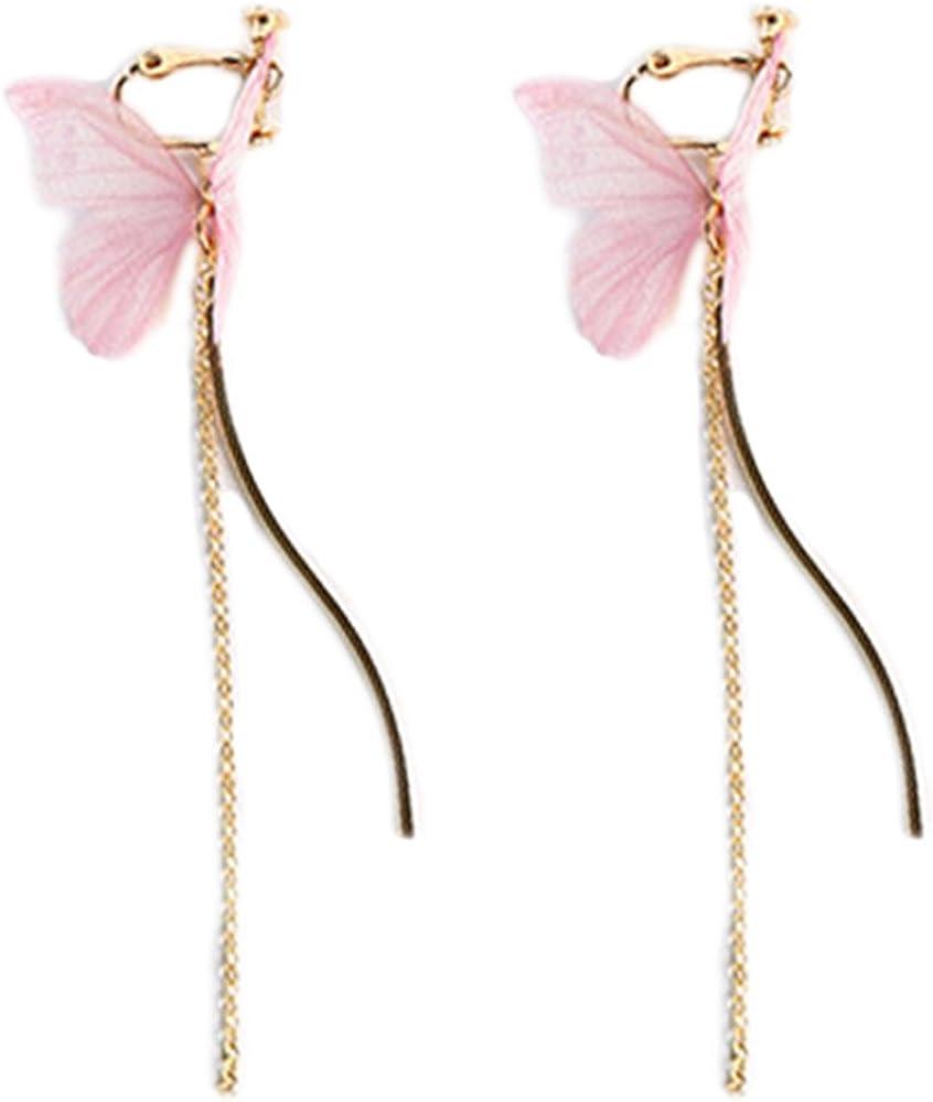 Clip On Earrings Butterfly Earrings Dangle S Curve Chain Tassel Sweet Gold Plated Costume Lovely Gift
