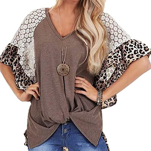 Elesoon Camiseta de verano para mujer, diseño de leopardo, estilo raglán, manga corta, holgada, cuello en V, túnica, A-marrón, 40