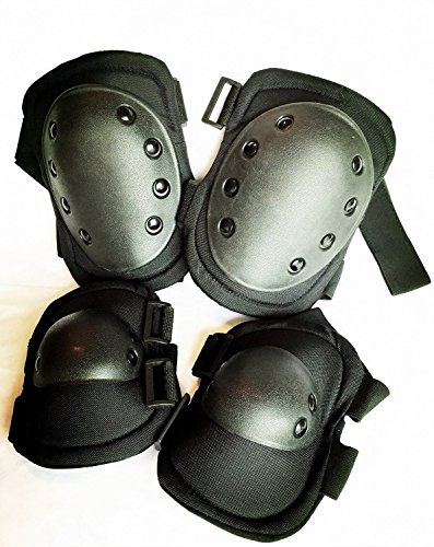 Bargain Crusader Military Tactical Knee Pad Elbow Pad Set Airsoft Knee Elbow Protective Pads Combat Paintball Skate Outdoor Sports Safety Guard Gear (Black)