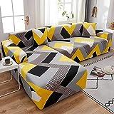 WXQY Funda de sofá de Esquina con patrón de Lino, Utilizada para la Funda de sofá de la Sala de Estar, sofá elástico con Todo Incluido, sillón Chaise Longue A4 de 3 plazas