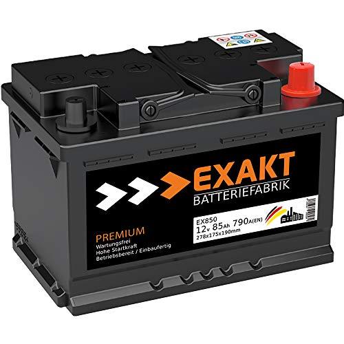 EXAKT Autobatterie 12V 85Ah Starterbatterie PKW KFZ Auto Batterie wartungsfrei statt 74Ah 75Ah 77Ah 80Ah
