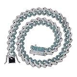 Moca Jewelry Iced Out - Collar de estilo hip hop chapado en oro de 18 quilates con diamantes de imitación de circonita cúbica para hombres y mujeres
