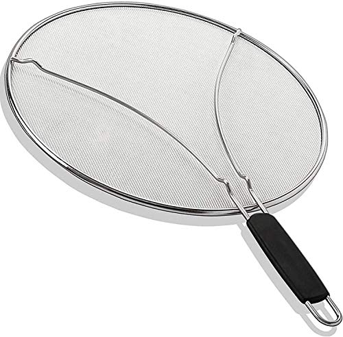 """Grease 13"""" Splatter Screen with Soft Grip TPR Handle - Stops 99% Hot Oil Splash- Protects Skin from Burns - Grease Guard for Frying Pan Keeps Your Kitchen Clean - Heavy Duty Ultra-Fine Mesh"""