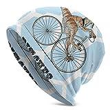 Lsjuee Unisex Soft Slouchy Beanie Knit Sombreros Divertido Dinosaurio Bicicleta Azul Geométrico Largo Baggy Skull Cap Invierno Verano Esquí Sombrero holgado
