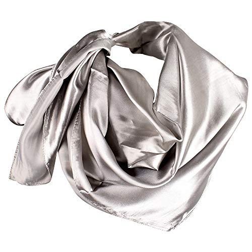 YOFASEN Hijab para Mujeres - Satinado Musulmanas con Velo Pañuelo para la Cabeza Islámico Turbante 90x90cm, Gris plateado