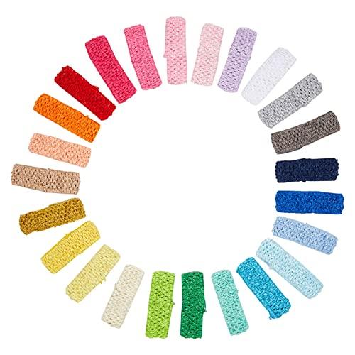 Crochet Headband- 24-Pack Elastic Headband, Head Wraps, Yoga Headband, Hair Hoops, Perfect Fashion Accessory for Women, Girls, Toddlers, Teens, 24 Assorted Colors, 1.625 x 5.625 Inches