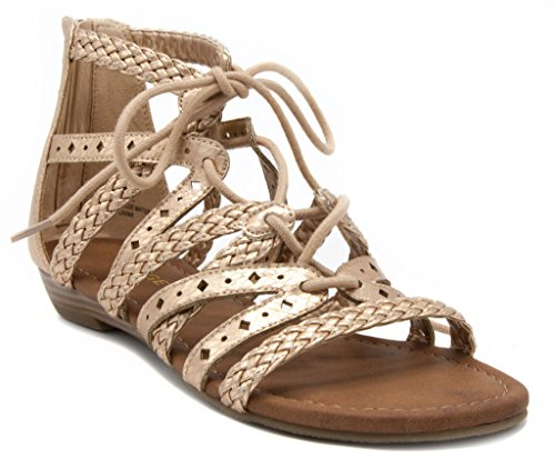 Rampage Womens Shelia Gladiator Braided Flat Lace Up Sandal with Tassel 6.5 Rose Gold