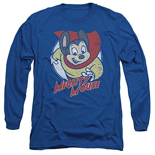 Mighty Mouse - T-shirt manches longues Puissant Cercle des Hommes, X-Large, Royal Blue