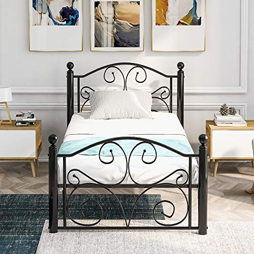 Merax Single Bed Frame Metal Bed Frame Solid 3ft large storage space with Headboard &Footboard, for Adults Kids Teenagers, Black (90 x 190)