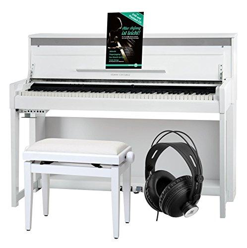 Classic Cantabile UP-1 WH E-Piano Deluxe Set (inklusive Pianobank, Kopfhörer und Klavierschule, Dämpfersimulation, MP3-Recorder, Mic In, OLED Display, 40 hochwertige Sounds, 3 Pedale) weiß hochglanz