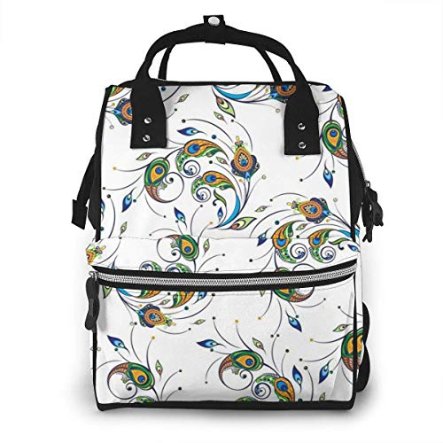 NHJYU Sac à langer, Large Capacity Waterproof Travel Ma-na-ger,baby Care Replacement Bag Versatile Stylish And Durable, Suitable For Mom And Dad,Peacock Feather Vector Image