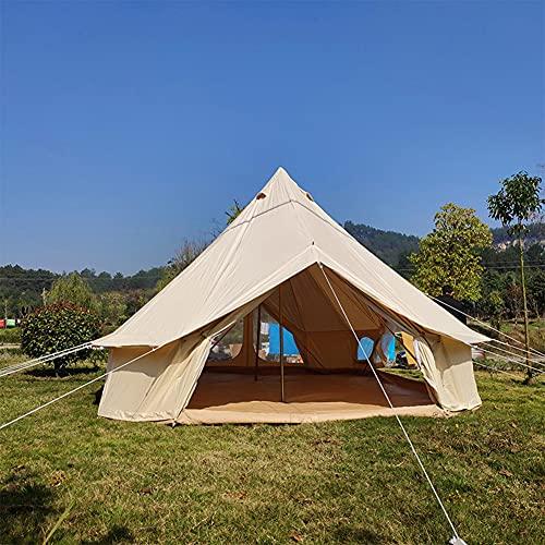 JTYX Tienda de campaña Campana Lona Impermeable Tienda de yurta Mongol Capas Dobles Tienda Tipi Camping al Aire Libre Tienda Familiar Pirámides Tienda India de 4 Estaciones