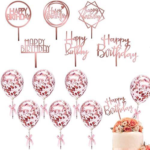 不适用 12 Stück Birthday Cake Topper, 6 Stück Happy Birthday Cake Topper mit 6 Stück Konfetti Luftballon Kuchendeko Tortenaufsatz Cupcake Topper Kuchendeckel Tortendeko Geburstagstorte Deko (Rose Gold)