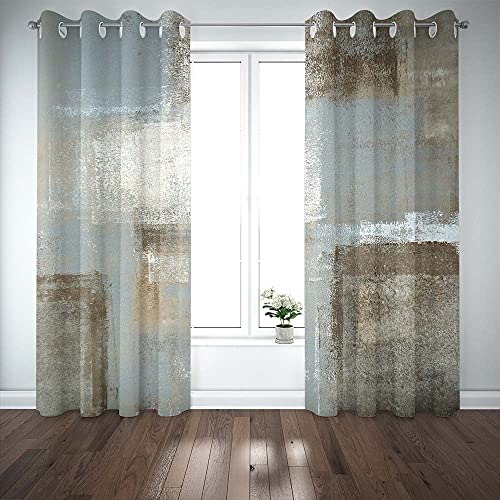 BeigeBlackoutCurtains TOMWISH Blackout Curtains Grey Grey and Beige Abstract Art Painting BlackoutCurtains for Living Room Bedroom Window Treatment Set 52 X 84 Inch 2 Panel