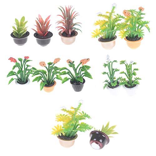 Ruby569y Puppenhaus-Zubehör für Bastler, Miniatur 1:12, Puppenhaus, Pflanze, Bonsai-Modell, Spielzeug, Garten, Terrasse, Dekoration, zufälliges Muster
