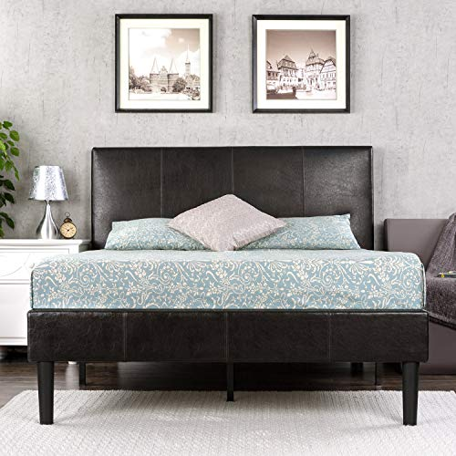 Zinus Gerard Deluxe Faux Leather Upholstered Platform Bed / Mattress Foundation / Easy Assembly / Strong Wood Slat Support, Cal King