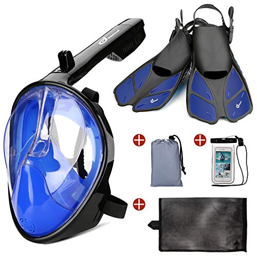 Odoland 5in1 Snorkeling Packages Full Face Snorkel Mask with Adjustable Swim Fins and Lightweight Backpack and Waterproof Case  GoPro CompatibleBlue XL