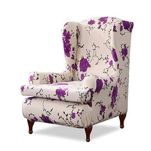 VanderHOME Ohrensessel husse ohrensessel bezug Stretch sesselhussen Sessel bezug husse für ohrensessel Lila Rose