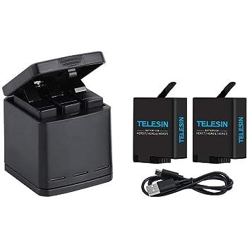 TELESIN GoPro Hero 8black/ Hero 7black/Hero 6/Hero 5/gopro hero用収納ボックス式 3ポートUSB充電器+2 交換バッテリー 3個同時充電可能 USB Type-Cインターフェイス【6ヶ月保証】 (充電器+2バッテリー)