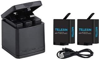 TELESIN GoPro Hero 7black/Hero 6/Hero 5/gopro hero用収納ボックス式 3ポートUSB充電器+2 交換バッテリー 3個同時充電可能 USB Type-Cインターフェイス【6ヶ月保証】 (充電器+2バッテリー)