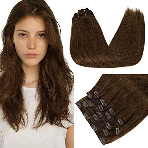 RUNATURE Clip in Extensions Echthaar Haarverlängerung 14 Zoll 35cm Farbe 4 Schokoladenbraun Haarteil 100g 9 Stück Haarverlängerung Echthaar