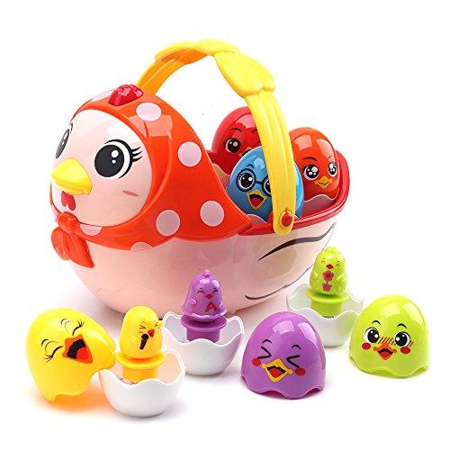 nicknack Musical Baby Spielzeuge, Osterei Spielzeug Geschenk für Kinder, Ostern Henne mit 6 Stapeln & Nesting Ei Spielzeug für Kleinkinder