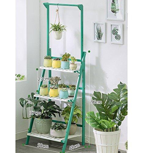 Antiseptique, bois, fleur, stand 3 niveaux pliant bambou support fleur plante pot affichage étagère échelle jardin extérieur Capacité d'appui élevée (Couleur : D, taille : 50 * 40 * 96CM)