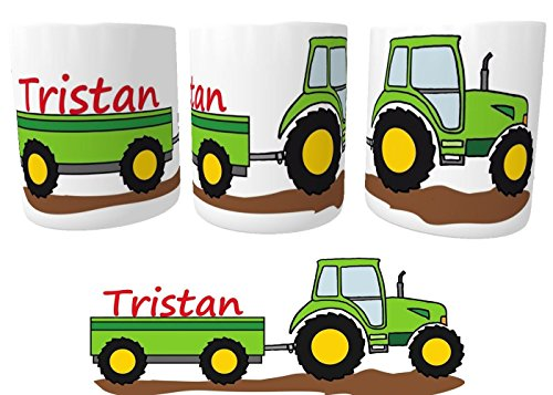Spardose Traktor Trecker mit Wunschname personalisiert | Sparbüchse für kleine Landwirte | Sparstrumpf | Taschengeld sparen I Kinder