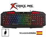 - XTRIKE ME Teclado Gaming en ESPAÑOL Retroiluminado Multicolor Efecto Arcoiris, ERGONÓMICO, 8 Teclas (Windows)