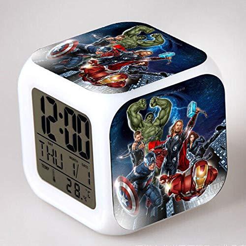 Sunshine Grocery Iron Man/Captain America/Thor Digital Clocks Watch Marvel's The Avengers LED Alarm Clock Night Light reloj despertador,Purple