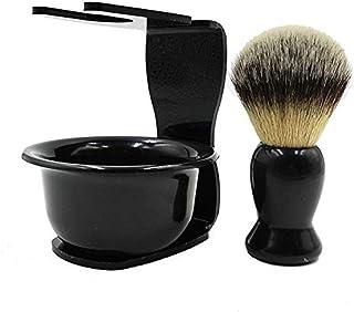 CINEEN 3 en 1 Kit de Rasage Homme : Blaireau + Titulaire + Bols pour Savon à Barbe - Rasage Accessoires Homme Facial Outil...