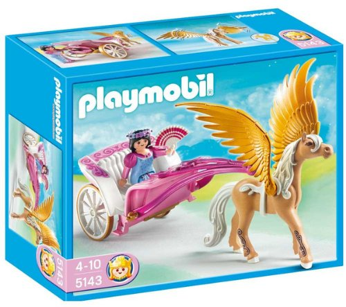 PLAYMOBIL 5143 - Carroza with Winged Horse + 5995 - Fairy and Unicorn Case