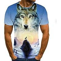 Orangutan Pattern 3D T-Shirt Hombres de Manga Corta Summer Fashion Top Animal Print 3D T-Shirt Ropa de Hombre L Light Blue