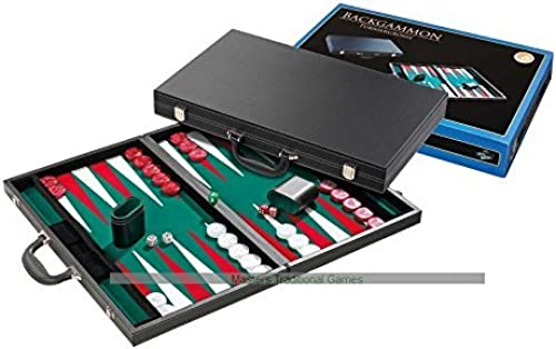 TournaHommest Taille Backgammon Set - briefcase style, vert surface by Philos
