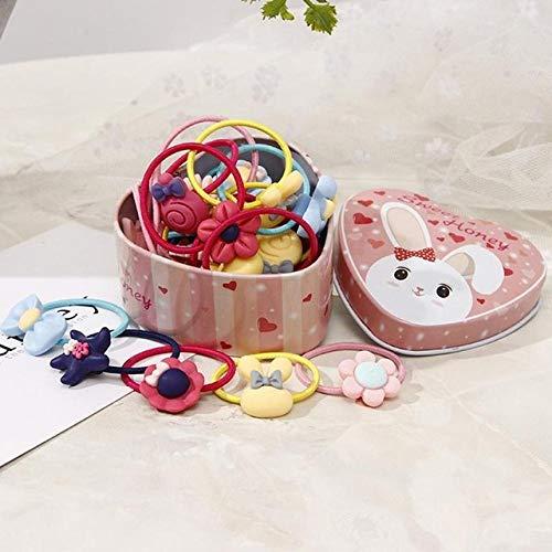 SJ&HJGYU Haarbänder 20 PC-Mädchen binden Haar-Gummiband-Nette Farben-Karikatur-elastisches Gummiband-Blumen-Bogen-Form-Haar-Seil,EIN