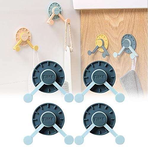 HHKX100822 Creative Punch Free 360° Rotating Clock Hook, Wall Punch-Free Sticker Holder, Key Hanger Behind The Door Hat Clothes Hook Kitchen and Bathroom Hooks Azul Marino