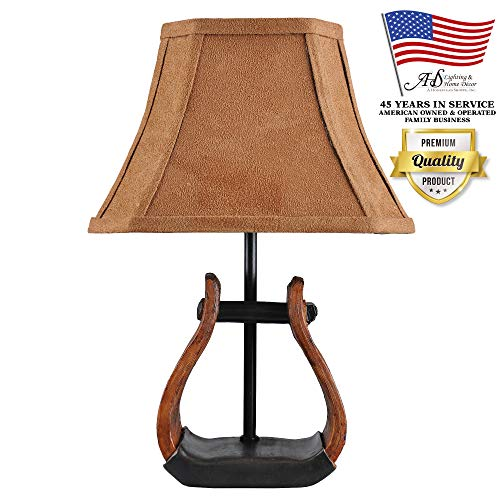 AHS Lighting L1707-UP3 Stirrup Western Accent Lamp Polyresin Perfect for Bookshelf, Kitchens, desks, Cabin Cottage Style Homes, Brown