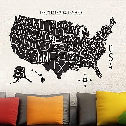 Art Map Company Decoración De Oficina Diy Living Room Map Etiqueta De La Pared 58X87Cm