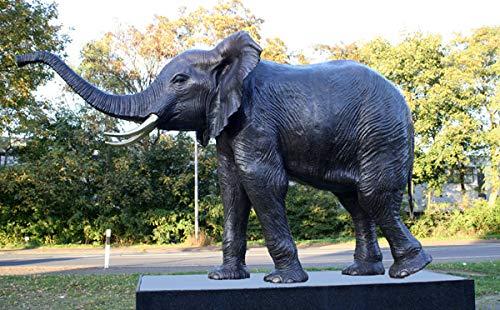 H. Packmor GmbH Bronzeskulptur Elefant Lebensgroß Wasserspeier Dekoration für ihren Garten (7134)