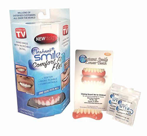 Instant Smile Complete Adult Makeover Kit! Fix Your Smile At Home Within Minutes! Includes Bright White Comfort Fit Flex Upper and Natural Shade Instant Smile Lower.