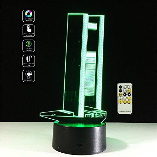 Deerbird® moderno grattacielo 3D visualizzazione Illusione 7 Colore variabile tocco LED di notte della lampada per camera decorativi o di amici/Bambini Regali