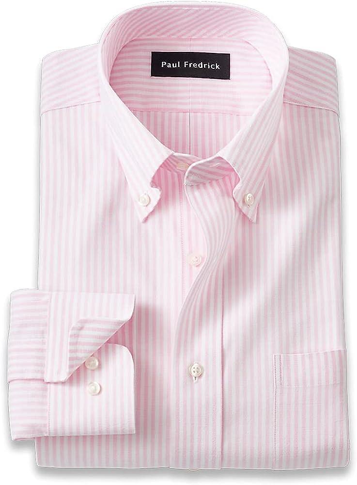 Paul Fredrick Men's Slim Fit Pure Cotton Bengal Stripe Dress Shirt