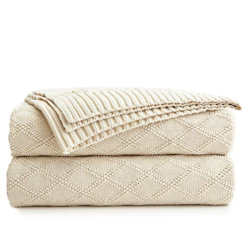 Longhui bedding Cotton Cable Knit Throw Blanket for Couch Chairs Beach Sofa, Home Decorative Blanket, Cream 50 x 60 inch Gift a Washing Bag