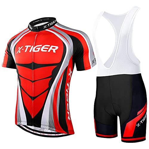X-TIGER Hombres de Bicicleta con 5D Gel Acolchado MTB Ciclismo Tirantes Culotte Pantalones Cortos Culotes (#7, L(CN)=M(EU))