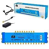 Multischalter pmse 9/16 HB-DIGITAL 2X SAT bis 16 x Teilnehmer / Receiver für Full HDTV 3D 4K UHD mit Netzteil -