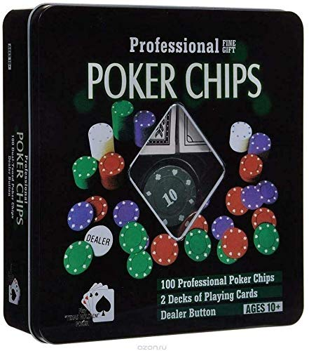 Vencede Set Profesional de Poker con fichas y Barajas de Cartas. con un Total de 100 fichas y Dos Barajas de Cartas inglesas. Ideal para Jugar en casa con Familia y Amigos.