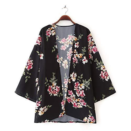 Yyh Cardigan Strandverkleding, voor dames, met chiffon, cardigan en kimono X-Large zwart